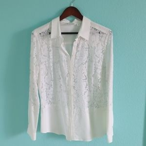 NWT White Lace Button Up